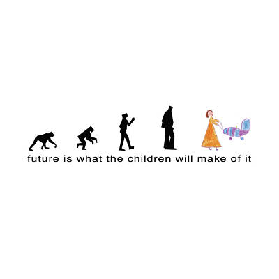 Evolution Of Humanity Drawing - Future Is What The Children Will Make Of It by Murielle Sunier