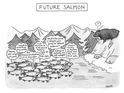Drawing - Future Salmon by Alice Cheng