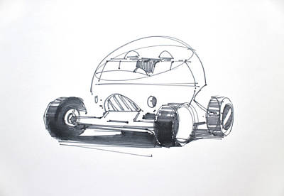 Cockpit Drawing - Future Vehicle by Michael Oberschneider