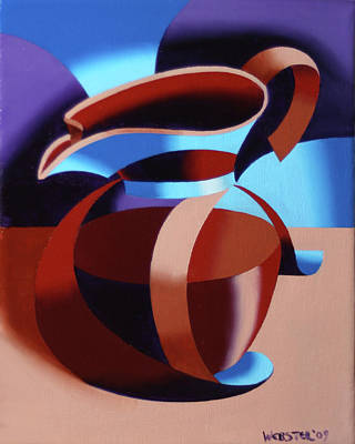 Cubist Painting - Futurist Coffee Pot Oil Painting by Mark Webster