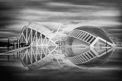 Futuristic Architecture Of Modern Valencia Spain In Black And Wh Art Print by Carol Japp