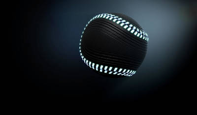 Futuristic Neon Sports Ball Art Print