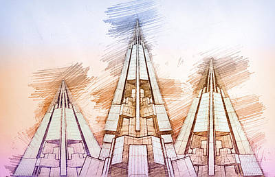Built Structure Drawing - Futuristic Pyramids by Nenad Cerovic