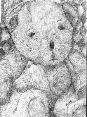 Art Print featuring the drawing Fuzzy Wuzzy Bear  by Vicki  Housel
