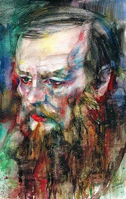 Painting - Fyodor Dostoyevsky - Watercolor Portrait.7 by Fabrizio Cassetta