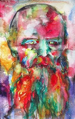 Painting - Fyodor Dostoyevsky - Watercolor Portrait.8 by Fabrizio Cassetta