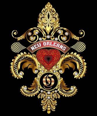 Doubloon Digital Art - G-fleur-de-lis New Orleans Transparent Back Pick Color by Bill Campitelle