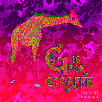 Digital Art - G Is For Giraffe by Margaret Newcomb