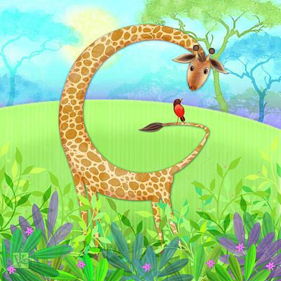 Animal Alphabet Digital Art - G Is For Giraffe by Valerie Drake Lesiak