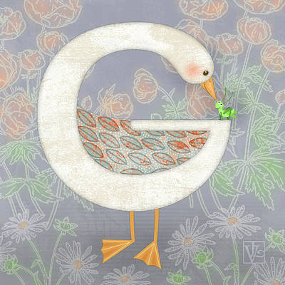 Shirt Digital Art - G Is For Goose And Grasshopper by Valerie Drake Lesiak