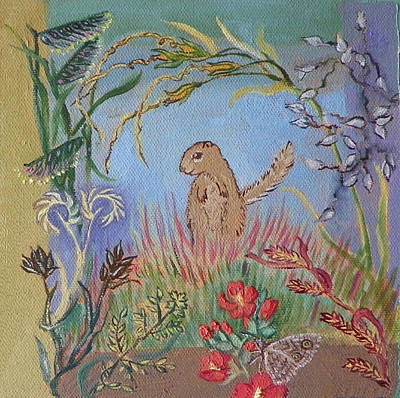 Painting - G Is For Gopher In The Grass Childhood Quilt Detail by Dawn Senior-Trask