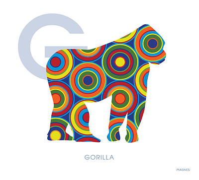 Ape Digital Art - G Is For Gorilla by Ron Magnes