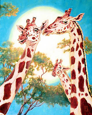 Painting - G Is For Gossiping Giraffe by Michael Orwick