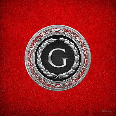 Digital Art - G - Silver Vintage Monogram On Red Leather by Serge Averbukh