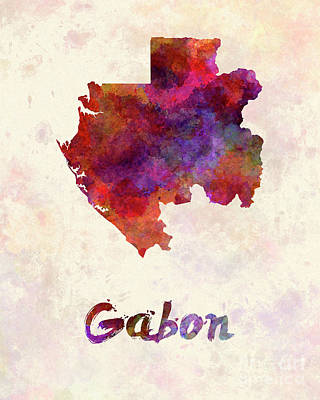 Gabon Painting - Gabon In Watercolor by Pablo Romero