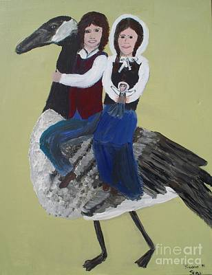 Gabriel And Evangeline On A Canadian Goose Art Print