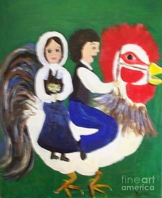 Acadian Painting - Gabriel Taking Evangeline On Joyride by Seaux-N-Seau Soileau