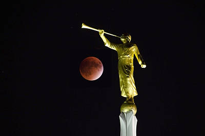 Man In The Moon Photograph - Gabriel Trumpeting The Blood Moon Eclipse by Deborah Smolinske