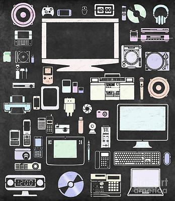Pen Digital Art - Gadgets Icon by Setsiri Silapasuwanchai