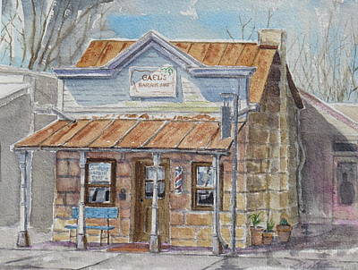 Mike Martin Painting - Gael's Barber Shop by Mike Martin