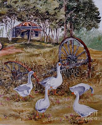 Gaggling Geese Art Print by Val Stokes