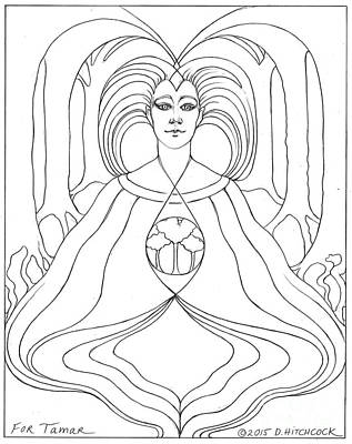 Wiccan Drawing - Gaia by Debra A Hitchcock
