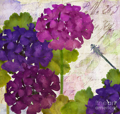 Fuschia Painting - Gaia II Geraniums by Mindy Sommers