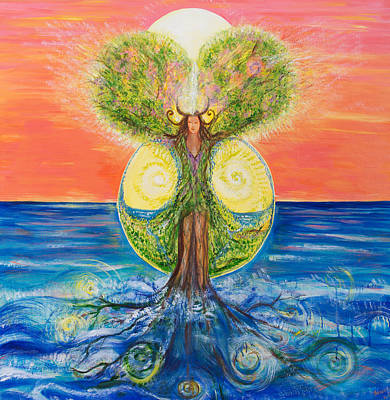 Tree Roots Painting - Gaia Rising by Solveig Katrin