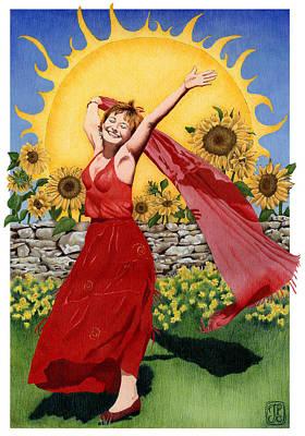 Gaian Tarot Sun Art Print by Joanna Powell Colbert