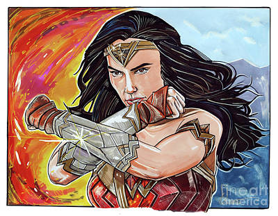 Dc Comics Drawing - Gal Gadot As Wonder Woman by Dave Olsen