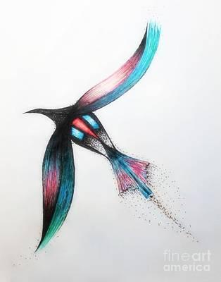 Galactic Drawing - Galactic Bird by Samiksa Art