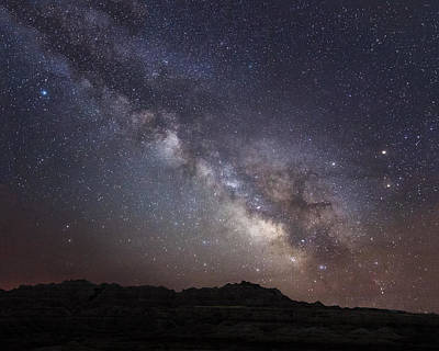 Photograph - Galactic Light On Badlands National Park by Dakota Light Photography By Dakota