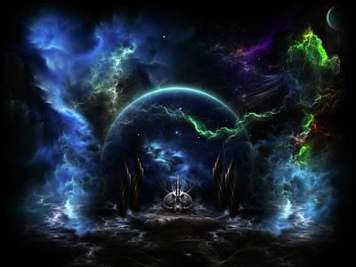 Digital Art - Galactic Ocean Waves by Xzendor7