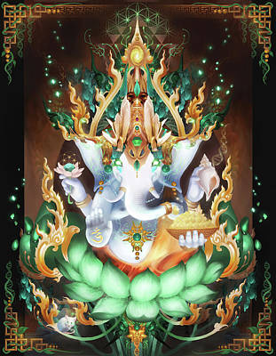 Tibetan Buddhism Digital Art - Galactik Ganesh by George Atherton