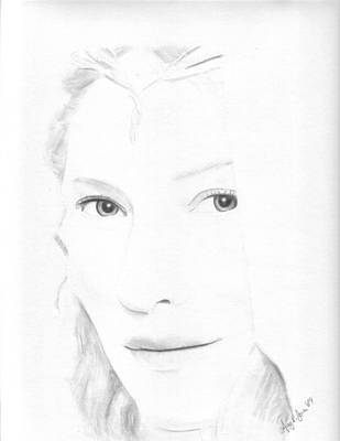 Cate Blanchett Drawing - Galadriel by Amy Jones