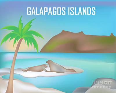 Sea Lion Digital Art - Galapagos Islands Horizontal Scene by Karen Young