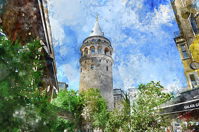 Photograph - Galata Tower In Istanbul Tukey by Brandon Bourdages