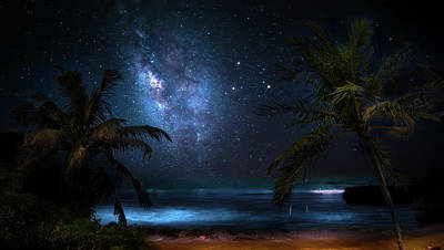 Galaxy Beach Art Print