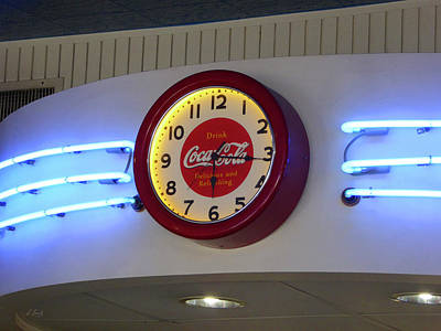 Art Print featuring the photograph Galaxy Diner Clock by Gordon Beck
