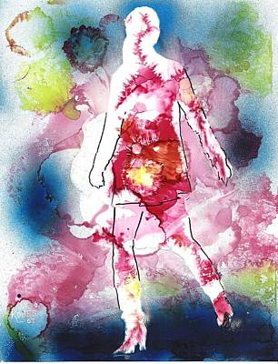 Figural Mixed Media - Galaxy Girl by Susan Kubes