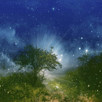 Landscapes Royalty-Free and Rights-Managed Images - Galaxy Landscape by Bekim M