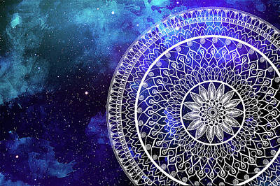 Blue Digital Art - Galaxy Mandala by Anmol Jauher