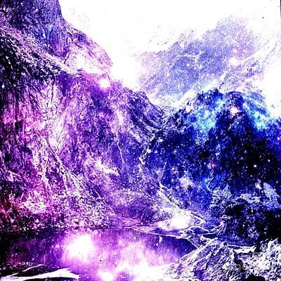 Galaxy Mountains Art Print