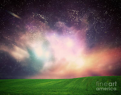 Colored Photograph - Galaxy Space Sky by Michal Bednarek