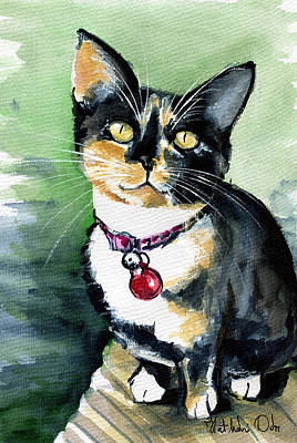 Painting - Galaxy The Calico Kitten by Dora Hathazi Mendes