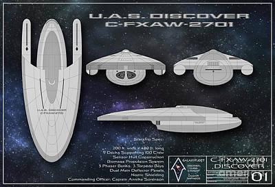 Photograph - Galaxy Trek  Vulcan To Boldly Go Poster Starship Schematic by Brad Allen Fine Art