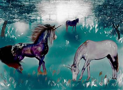 Mixed Media - Galaxy Unicorns  by Lisa Stanley