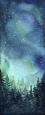Galaxy Watercolor Aurora Painting Art Print