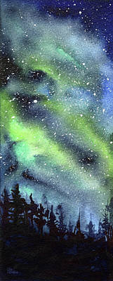 Nebula Painting - Galaxy Watercolor Nebula Northern Lights by Olga Shvartsur