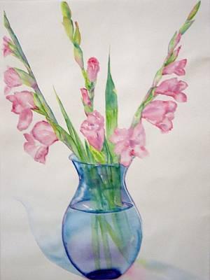 Gladiolas Painting - Galds In Cobalt Blue Vaser by Amy Jones
